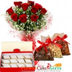 send half kg dry fruits half kg kaju barfi n roses bouquet delivery