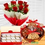 send 1kg dry fruits with1kg kaju barfi n roses bouquet delivery