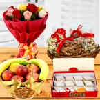 send dry fruits n fresh fruits n kaju barfi n roses bouquet delivery