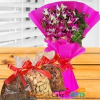 send half kg dry fruits n orchid bouquet delivery