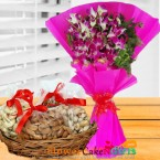send 1kg dry fruits n orchid bouquet delivery