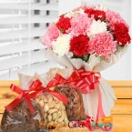 send half kg dry fruits n carnation flower bouquet delivery