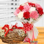 send 1kg dry fruits n carnation flower bouquet delivery