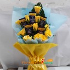 send yellow rose n chocolate bouquet delivery