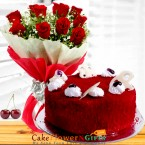 send 1kg eggless red velvet cake n roses flower bouquet delivery
