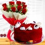 send 1kg eggless red velvet cake n roses flower bouquet delivery