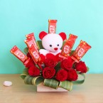 send Red Roses teddy Kitkat Chocolates Bouquet delivery