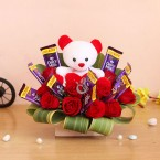 send red roses teddy five star chocolates bouquet delivery