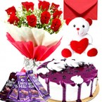 send eggless half kg blueberry fresh cream cake teddy bear chocolate red roses bouquet greeting card delivery