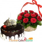 send half kg eggless choco vanilla cake n 15 red roses basket delivery
