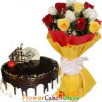 send half kg choco vanilla cake n 10 mix roses bouquet delivery
