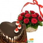 send 1kg heart shaped choco vanilla cake n 15 red roses basket delivery