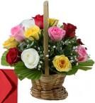 send 15 Mix Roses Basket delivery