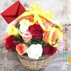 send 20 Mix Roses Basket delivery