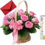 send 20 pink roses basket delivery