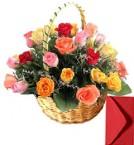 send 35 mix roses basket delivery