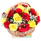 send 20 Red Yellow Roses Basket delivery