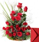 send Basket of Roses Flowers with Greeting Card delivery