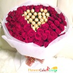 send 50 red roses and 32 pcs ferrero rocher chocolate bouquet delivery