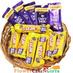 send 12 five star n cadbury dairy milk chocolate basket delivery
