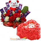 send half kg heart shaped rose cake n special roses teddy chocolate arrangement delivery