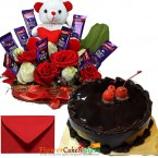 send 1kg eggless chocolate cake n special roses teddy chocolate arrangement delivery