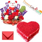send half kg heart shaped red velvet cake n special roses teddy chocolate basket delivery