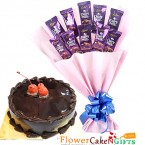 send eggless half kg chocolate cake n dairy milk chocolate bouquet delivery