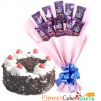 send half kg eggless black forest cake n cadbury dairy milk chocolate bouquet delivery