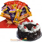 send eggless half kg black forest cake n chocolate basket combo delivery