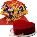 send half kg eggless red velvet heart cake n chocolate basket delivery
