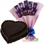 send eggless half kg chocolate heart shape cake n cadbury dairy milk chocolate bouquet delivery