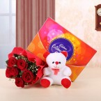 send 6 red roses teddy bear and cadbury celebrations chocolate gift combo delivery