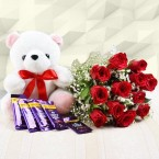 send red roses with teddy 5 dairy milk chocolates only for you delivery