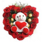 send love combo teddy roses flower ferrero rocher chocolates bouquet delivery
