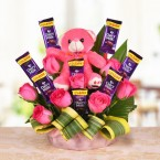 send pink roses teddy chocolates bouquet delivery