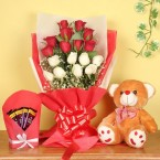 send 18 mixed roses brown teddy bear five dairy milk chocolates delivery