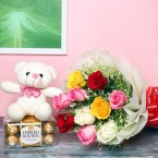 send 10 mixed colored roses teddy n box of 16 ferrero rocher chocolates delivery