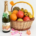 send enigmatic basket with fruit champagne delivery