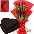 send half kg eggless chocolate cake heart shaped n roses five star chocolate bouquet delivery