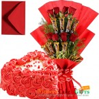 send 1kg eggless roses cake heart shaped n roses five star chocolate bouquet delivery
