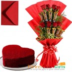 send 1kg red velvet cake heart shaped n roses five star chocolate bouquet delivery