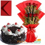 send 1kg black forest cake heart shaped n roses five star chocolate bouquet delivery