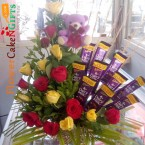 send 15 yellow red roses teddy n 10 chocolate bouquet delivery