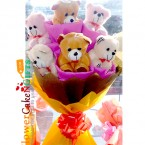 send 6 teddy designer bouquet delivery