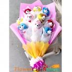 send 9 teddy designer bouquet delivery