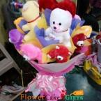 send 10 teddy designer bouquet delivery