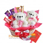 send 2 cute teddy bears n chocolates in basket delivery