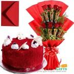 send half kg red velvet cake n roses five star chocolate bouquet delivery
