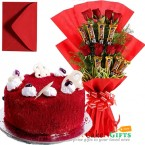send eggless half kg red velvet cake n roses five star chocolate bouquet delivery